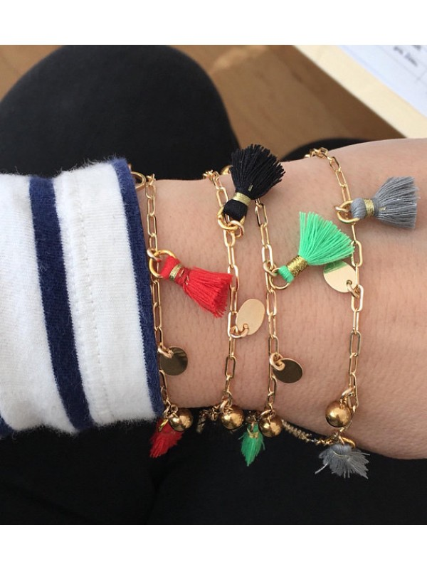 Gold-filled bracelet with various charms