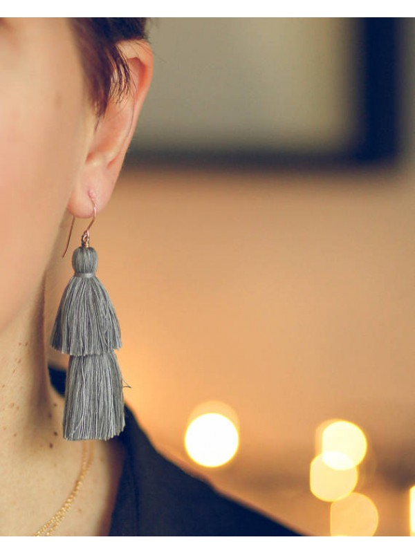 "4 ""earrings with two large tassels"